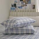 長絨棉 床包枕套組 單人【藍莓格格】色織雙層紗 自由混搭 翔仔居家