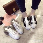 穆勒鞋女拖鞋女外穿款毛毛鞋平底半拖鞋兔毛秋新款小白鞋 zm6711『俏美人大尺碼』