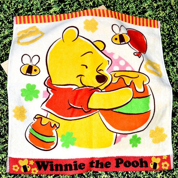 小熊維尼 pooh 毛巾 日本正版 34x34cm 迪士尼 100%棉