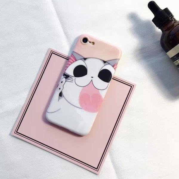 iPhone手機殼 可掛繩 日本可愛起司貓 磨砂軟殼 蘋果iPhone7/iPhone6 手機殼