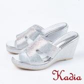 2018春夏新品 Kadia.閃耀水鑽氣質楔型高跟涼鞋(8127-11銀)