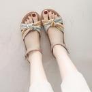 涼鞋女ins潮2021夏季新款平底網紅百搭休閒學生一字扣沙灘羅馬鞋 黛尼時尚精品