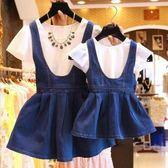【熊貓】童裝親子裝連身套裝女童牛仔背帶裙母女裝