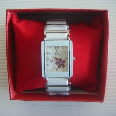 櫻花繽紛鑲鑽方形鏡面日本機芯防水陶瓷淑女錶(白色)/腕錶/手錶(贈錶盒)