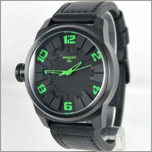 【萬年鐘錶】elegant大錶徑 時尚錶(黑綠) ELJT48-2G05LC