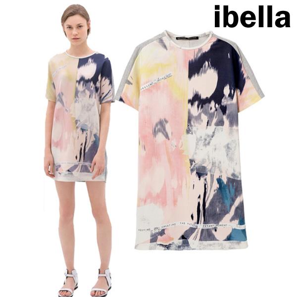 現貨4折出清不退不換,慎選-時尚洋裝T恤噴染彩繪洋裝【69-12985】ibella