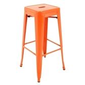 E-home亞尼工業風可堆疊金屬吧檯椅高76cm橘