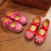 降價兩天 中國傳統工藝老北京布鞋兒童民族風刺繡花亮片鞋女寶寶盤扣透氣鞋