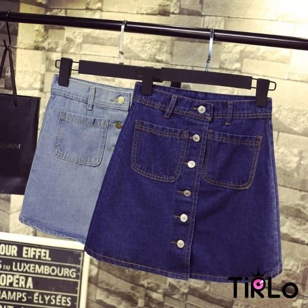 牛仔裙 -Tirlo-雙邊小口袋牛仔A字裙-兩色/S-2XL(現+追加預計5-7工作天出貨)