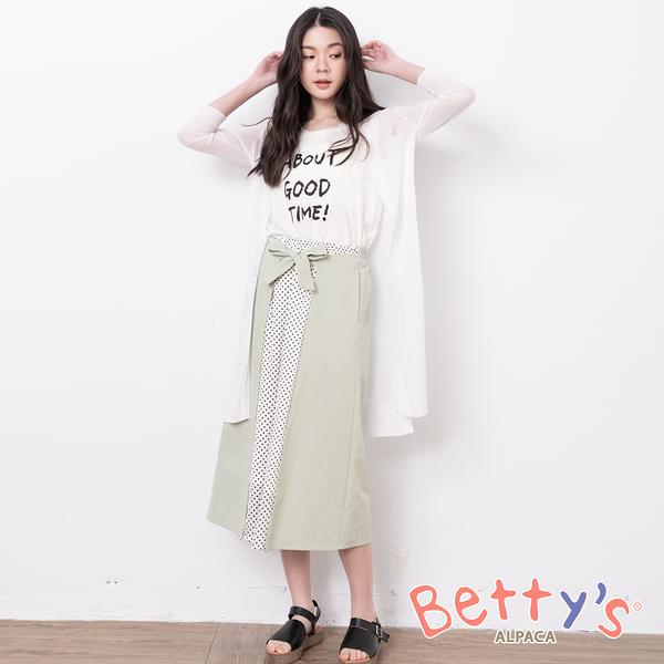 betty's貝蒂思 水玉圓點綁帶拼接造型長裙(淺綠)