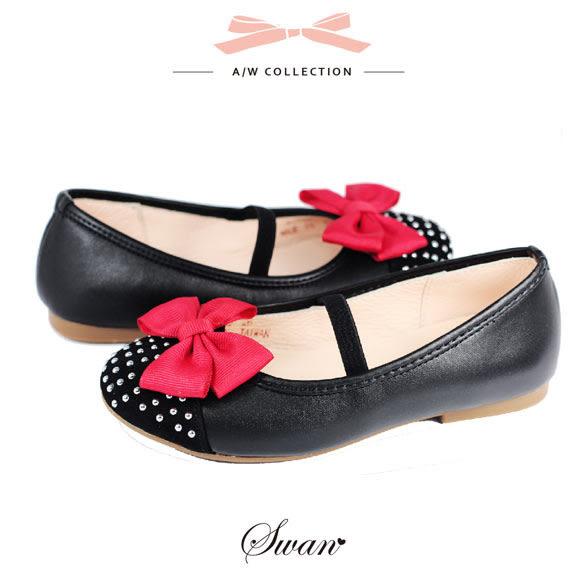 Swan天鵝童鞋-質感真皮鞋頭鑲銀珠娃娃鞋 3762-黑