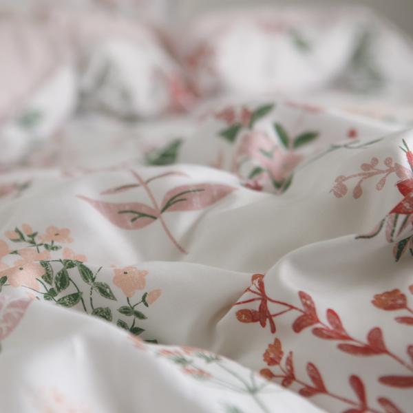 天絲 床包被套組(薄) 特大【Poppy】涼爽親膚 100%tencel 萊賽爾纖維 翔仔居家