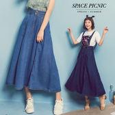 吊帶裙 Space Picnic|雙口袋單寧傘擺吊帶裙(現+預)【C18053111】