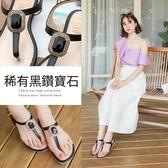 Ann'S夏日名媛款-鏡面方鑽T字平底涼鞋-黑