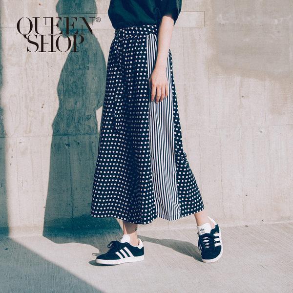 Queen Shop【04110075】點點條紋變化拼接腰帶寬褲 S/M*預購*