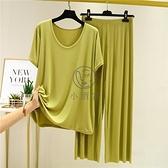 莫代爾套裝 夏季女裝顯瘦套裝莫代爾圓領大碼短袖T恤薄款家居睡衣寬鬆兩件套 【小酒窩】