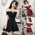 性感夜店女裝一字領露肩綁帶低胸抹胸洋裝主播服裝 韓語空間