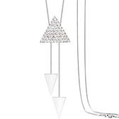 鑲鑽項鍊-氣質三角生日情人節禮物女毛衣鍊73fv40【時尚巴黎】
