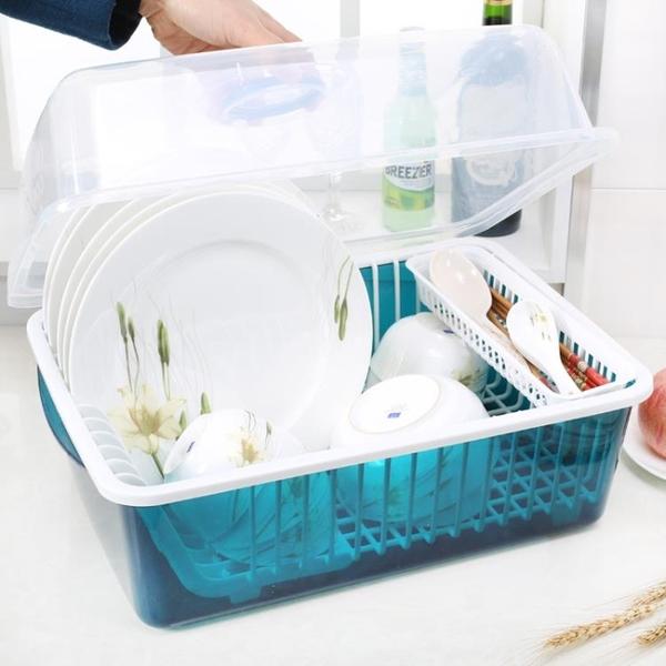 碗架收納碗櫃塑膠廚房瀝水碗架帶蓋碗筷餐具收納盒放碗碟架滴水碗盤置物架 俏女孩