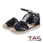 TAS水鑽蕾絲踝繫帶草編涼鞋-亮麗黑
