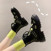 短靴 馬丁靴女夏季薄款百搭繫帶學院風厚底鏤空短靴子 Ballet朵朵