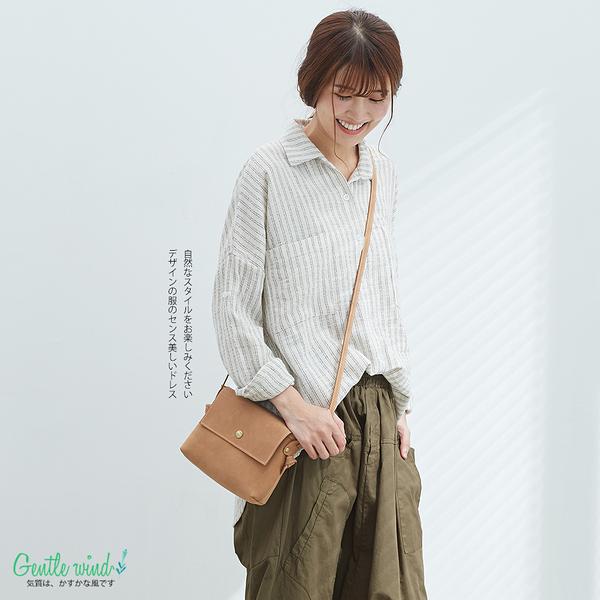 細雙條紋棉麻寬襯衫(米)-F【Gentle wind】