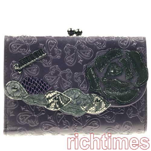 【裕代 ANNA SUI】紫色蝴蝶玫瑰皮面短夾 AS1B6033