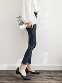 黑色坡跟果凍鞋尖頭夏季新款純色水鞋女防滑防水韓版時尚女式雨鞋