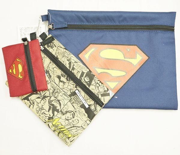 S 超人 SUPERMAN 拉鍊零錢包 收納袋 日本正版 奶爸商城 3入 312682