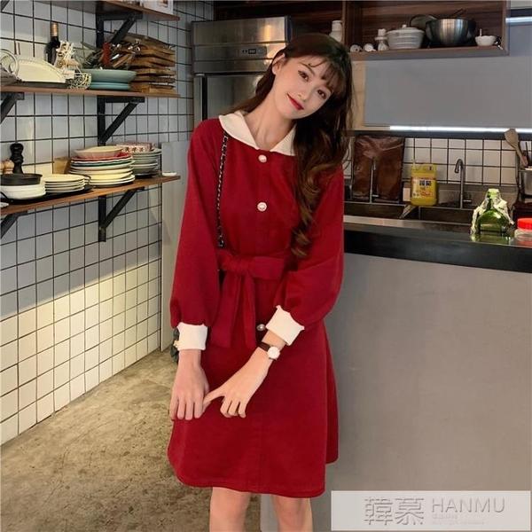 春裝2020女裝新款小香風法式小禮服赫本打野裙子氣質紅色洋裝潮 女神購物節