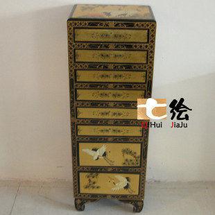 古中式 漆器金箔 手繪 首飾櫃