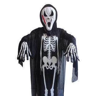 萬聖節服裝成人兒童 骨架鬼衣服+蜈蚣面具+骷髏手套