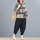 棉綢幾何印花襯衫套裝(上衣+長褲)-大尺碼 獨具衣格 J3719