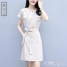 夏裝小個子棉麻洋裝韓版亞麻高腰夏矮個子穿...