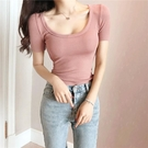 低胸上衣 韓國春夏新款百搭大U領短袖t恤女純色緊身性感低胸打底衫上衣