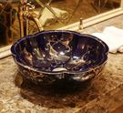 爆款陶瓷衛浴台上盆洗手盆洗臉盆台盆藝術盆洗面盆特色花瓣 藍色金枝蔓延