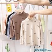 女童長袖T恤 新款2021男女童純棉長袖t恤小童寶寶春秋裝上衣兒童中高領打底衫 快速出貨