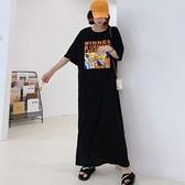 洋裝開叉裙長裙中大尺碼L-3XL/加長款寬鬆大碼女裝短袖印花連身裙景F5-5356.胖胖美依