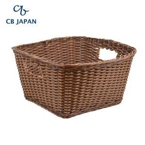 CB Japan 巴黎系列仿藤編洗衣籃M-深棕色