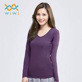 【WIWI】MIT溫灸刷毛V領發熱衣(羅蘭紫 女S-2XL)