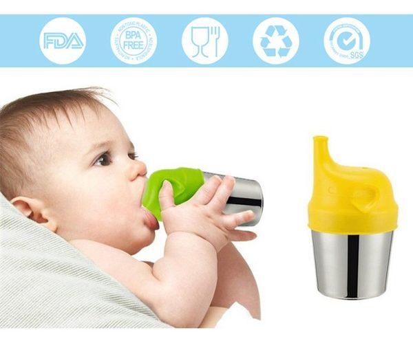 BabyPark 韓國UYOU 防溢漏矽膠大象杯套組- 蜜柑橘 學習杯 杯子 水壺