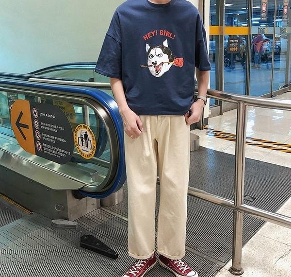 FINDSENSE H1 2018 夏季 新款 男 個性 趣味 狗頭印花  情侶