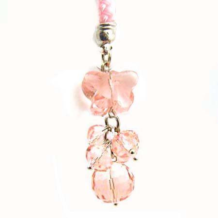 粉紅色水晶蝴蝶串珠吊飾