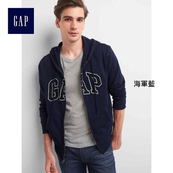 Gap男裝 王大陸同款Logo基本款舒適刷毛長袖休閒外套851516-海軍藍