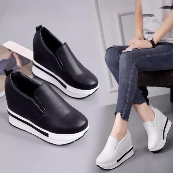內增高鞋-韓國新款簡約設計感格素面百搭套腳魔術內增高懶人鞋 樂福鞋 【AN SHOP】