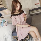 2019夏季女裝韓版新款寬鬆大碼學生短袖時尚拼接蕾絲網紗連身裙潮      橙子精品
