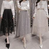 中大尺碼 網紗裙高腰百搭釘珠a字蕾絲時尚半身長裙子LJ8668『夢幻家居』