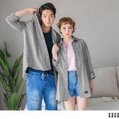 《KL0484》情侶系列~高含棉配色細格紋長袖襯衫 OrangeBear