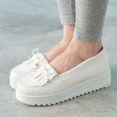 女款 韓系流蘇厚底莫卡辛 厚底鞋 鬆糕鞋 MIT製造 白色 59鞋廊