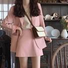 西裝外套 網紅春秋季新款韓版西裝外套女休閑寬松chic粉色小西服兩件套裝裙